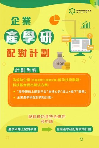 【圖文包】科技基金企業產學研配對計劃